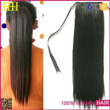 Little brown silk straight best selling claw clip ponytail 100% virgin human hair extension