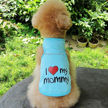 Bulk summer dog t shirt dog clothes vest cheap i love mommy/daddy