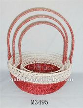 Set of Three Round Iron Silver string fruit basket for christmas decoration