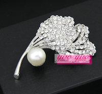 elegant crystal custom brooch