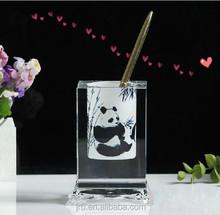 panda crystal pen holder/brush pot with base