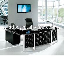 2015 hot sale modern office furniture table design/tempered glass executive office desk PT-D010