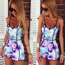 2015 print v-neck sexy women dress fashion purple summer wear print mini casual dress