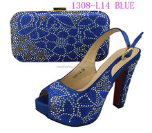 1308-L14 royal blue splendid shoes and matching bags with wholesale price