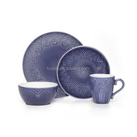 Wholesale New Design purple 16-piece ceramic stoneware dinnerware set