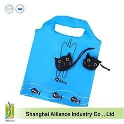 New Black cat nylon reusable shopping bag animal Foldable Shopping Bag folding handle Bag ALD1082
