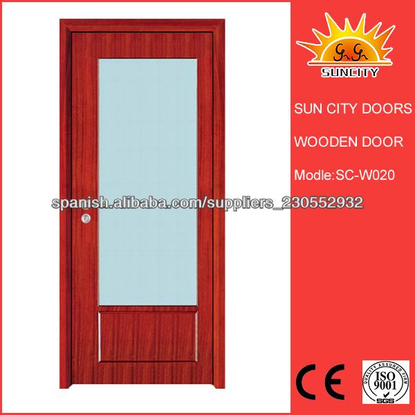 Puertas De Baño Interior:Solid Baño Puerta Interior De Madera con vidrio esmerilado Diseño SC