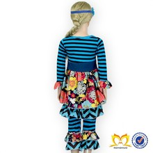 Fashion baby girls boutique clothing sets girls cotton knit flower top dress ruffled pants clothes set