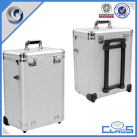 customed high quality silver trolley aluminum tool case flight case with drawers