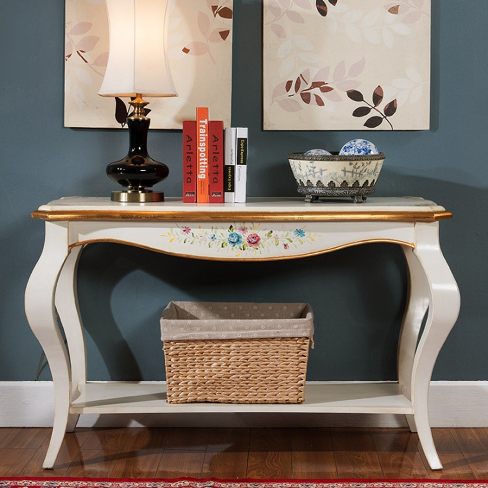 Woonkamer interieur luxe meubels vintage console tafel in zwart ...