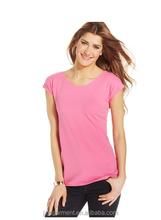 woman sport short sleeve scoop-neck tee/blank scoop neck T-shirt /deep neck tshirt