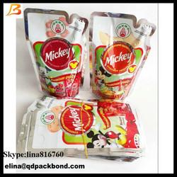 China Alibaba fruit juice packaging bag/top quality jelly fruit juice plastic bag /capri sun fruit juice pouch