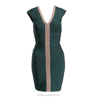 Navy green elegant V neck bandage fabric for dress