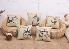 Cute 100% cotton child cat seat cushion cover for home decoration A040