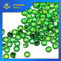 round brilliant cut 1mm 3mm green loose cz stone