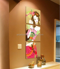 Group cartoon oil Paintings of charming girl china home decor wholesale