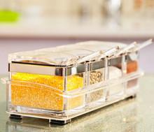 High quality kitchen tools Cooking Set of 4pcs Acrylic Glass Spice Jar Glass Cruet/Salt Shaker Spice Salt Storage