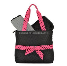 Quilted Solid 3 in 1 set shoppingTote Bag /outside zip pocket quilted tote bag / shopping tote bags manufacturer in China