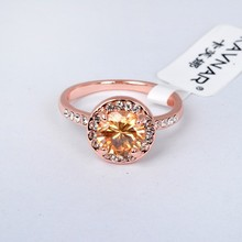 Classical Rose Gold Plated Brown Happiness Round Ring For Engagement