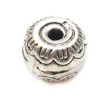 Antique Silver Beads With Flower 6.2*9.3mm Lead, Nickel & Cadmium Free Jewelry Metal Findings