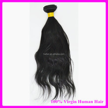Natural looks wavy black color Brazilian virgin human hair extensions wholesale