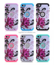 Lotus Flower Pattern Tuff Dual Layer Hybrid Armor Case for Ipod Touch 6/iPhone6plus/samsung s6/samsung s6 edge plus