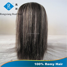 Stable Quality 100% Human Hair indian remy gray hair full lace wig
