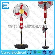 Especificaciones de ventilador de pie de energía solar ac dc o ventilador de batería de 12v dc de Foshan Carro 16inch