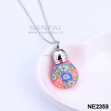 colorful Soft pottery ceramic pendant jewelry Custom Initial necklace Jewelry