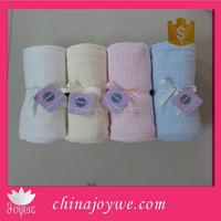 New Baby Cotton Cellular Pram Blanket - Pink, Blue ,Cream or White