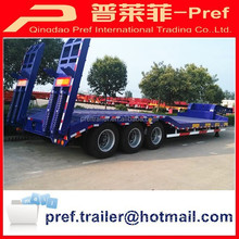 Direct factory concave type 40tons 3 axles excavator transport low bed truck trailer/ lowboy semi-trailer for sale