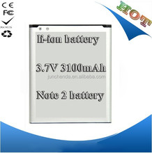 Mobile phone Battery for samsung note 2 N7100 battery batteria AKKU 3100mAh EB595675LU batteries with best quality