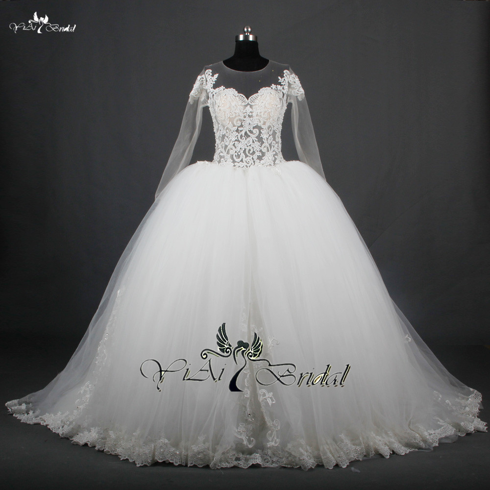Rsw714 long sleeve see through corset puffy princess ball for Princess corset wedding dresses