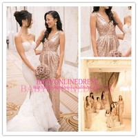 New Romantic High Quality Cheap Made To Order China Long Gold Sequins V-Neck Sparkle Party Patterns Bridesmaid Dresses 2014