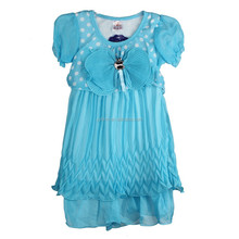 DYF154239 Flesh Aqua Dots Dress Pant Outfit Kids Girl Summer Short Sleeve Clothes Set