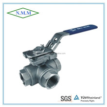 Stainless Steel T type 3 Way Ball Valve, Reduced Bore, Threaded end, 1000PSI WOG, PN63, with mounting pad