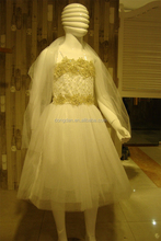 Lovely Lace white wedding dress for kids of arabic wedding dress with cheap price wedding dress sale
