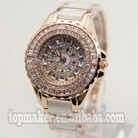 Big Case Dial With Diamond Alloy Fashion Lady Watch White Recamic