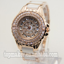 Big Case Dial With Diamond Alloy Fashion Lady Watch White Recamic