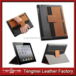 With Hand Belt Innovative Luxury pu Leather Stand Case Cover For iPad 2 smart case
