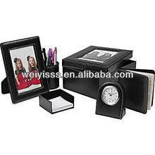 Global 6pc Faux Leather Desk Set Clock Pen Card Holder Picture Frame