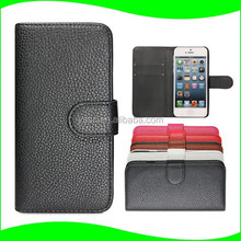In Stock! Wholesale Alibaba PU Leather Wallet Case Flip Cell Phone Case for APPLE iPhone 5