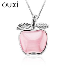 OUXI pink shaped pendant silver payal jewelry,choker necklace Y30197