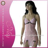 Pink hot open bust fashion babydolls manufacturer