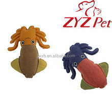 best selling products cuttlefish squid shape canvas pet toy interactive play