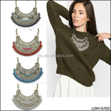 Classic Layered Crystal and Acrylic Bohemia Style Bib Necklace