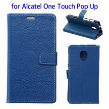 Litchi Texture Flip Stand Wallet Genuine Leather Mobile Phone Case for Alcatel One Touch Pop Up