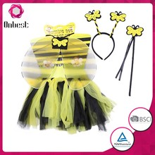 wholeslae fairy wings handmade high quality tutu dress sets bee wings halloween children's tutu skirt costume with wand hair