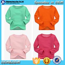2015 Autumn/Spring Hot sale new design good quality children unisex casual plain solid color long sleeve t shirt