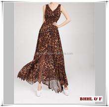2015 Summer Fashion Women Ladies Sexy Dress Leopard Printed Beach Party Dress Sleeveless V Neck Long Dress
